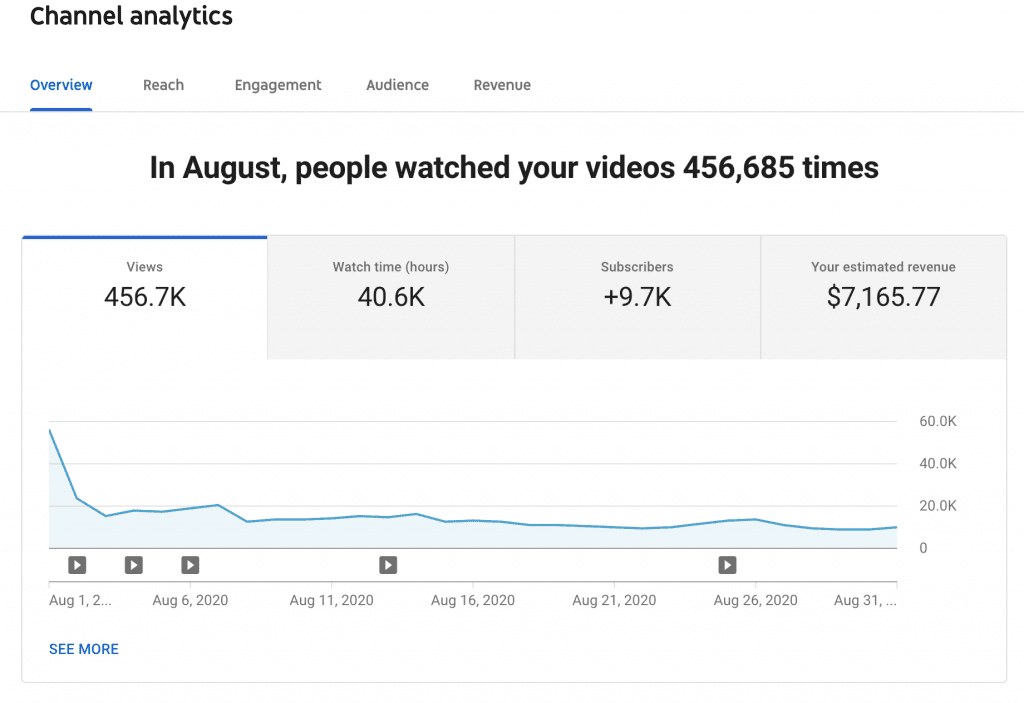 YouTube Adsense / August YouTube Income Report
